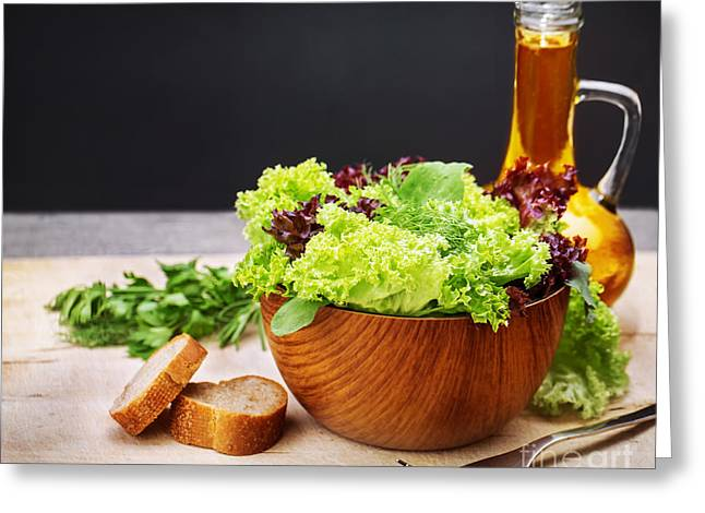Salad Dressing Greeting Cards - Vegetarian salad and olive oil Greeting Card by Anna Omelchenko