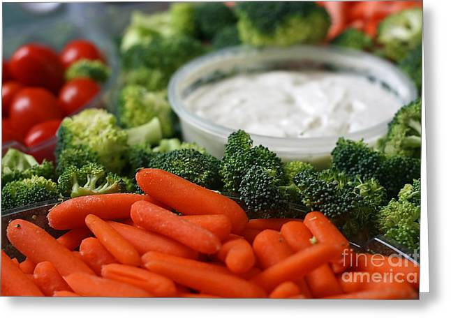 Broccoli Greeting Cards - Veggie Tray Greeting Card by Chris Anderson