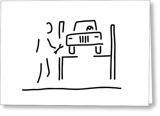 Repaired Drawings Greeting Cards - Vehicle Mechanic Car Greeting Card by Lineamentum