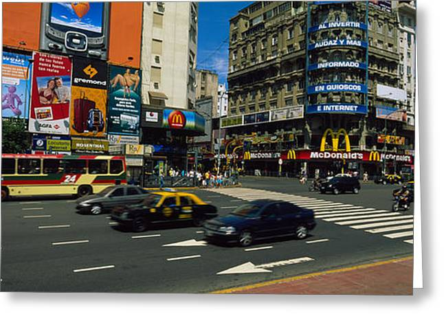 Buenos Aires Greeting Cards - Vehicles Moving On A Road, Buenos Greeting Card by Panoramic Images