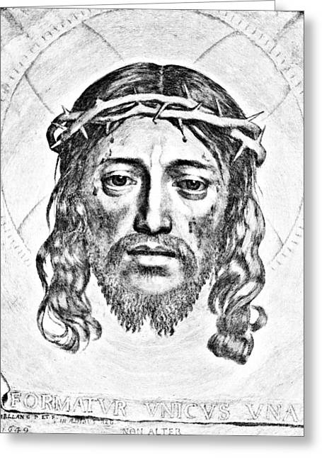 Crucifix Drawings Greeting Cards - Veil of Saint Veronica Engraving Greeting Card by