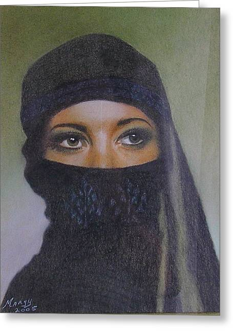 Characters Pastels Greeting Cards - Veiled Beauty  Greeting Card by Margaret Riley