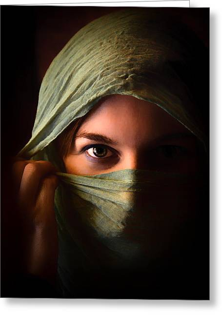 Mideast Greeting Cards - Veiled Beauty Greeting Card by Mountain Dreams