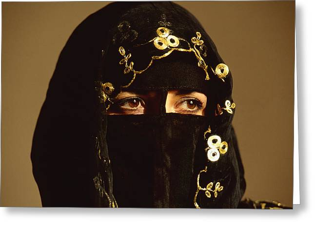Outfit Greeting Cards - Veiled Woman Greeting Card by Chris Coe