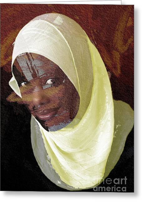 Youthful Digital Greeting Cards - Veiling Mama Africa Greeting Card by Morris Keyonzo