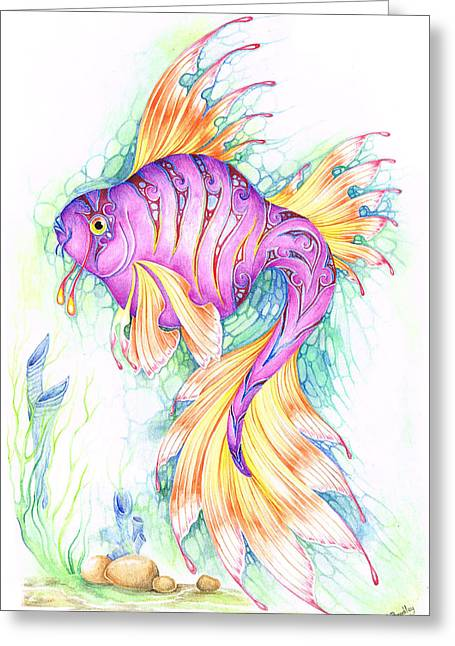 Water Scape Greeting Cards - Veiltail Fairy Fish Greeting Card by Heather Bradley