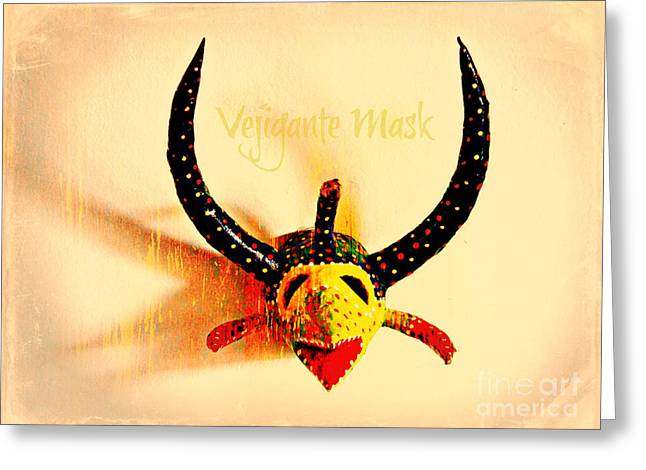 Vejigante Mask Greeting Card by Lilliana Mendez