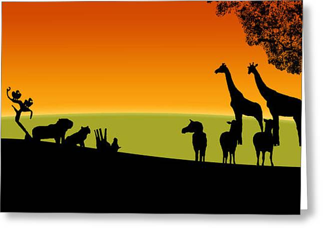 Rhinoceros Greeting Cards - Sunset Panorama of the Veldt Greeting Card by Mickey Wright