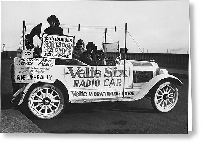 Velie Six Radio Car Greeting Card by Underwood & Underwood