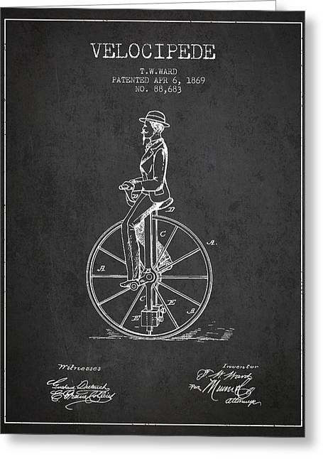 Velocipede Patent Drawing From 1869- Dark Greeting Card by Aged Pixel