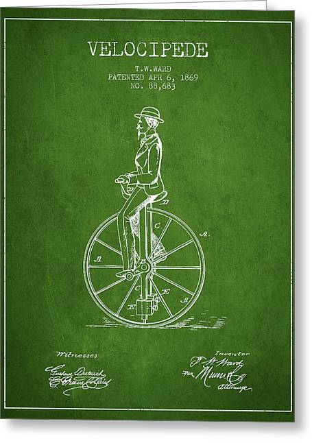 Velocipede Patent Drawing From 1869- Green Greeting Card by Aged Pixel