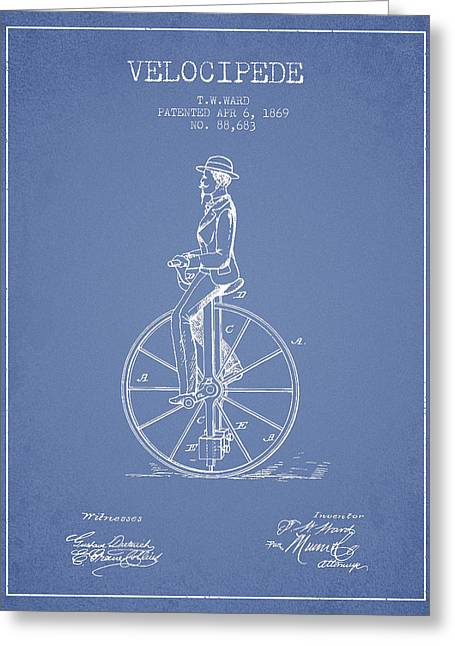 Velocipede Patent Drawing From 1869- Light Blue Greeting Card by Aged Pixel