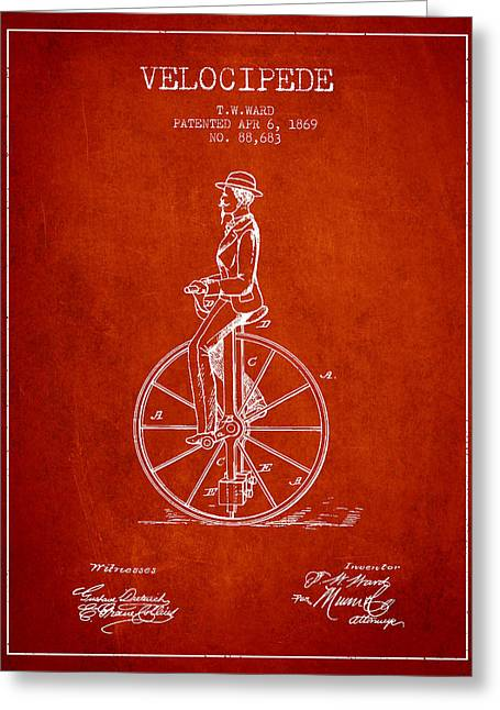 Velocipede Patent Drawing From 1869- Red Greeting Card by Aged Pixel