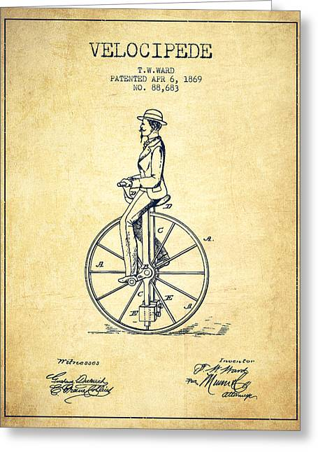 Velocipede Patent Drawing From 1869- Vintage Greeting Card by Aged Pixel