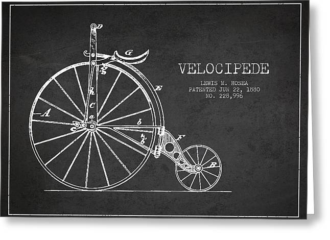 Vintage Bicycle Greeting Cards - Velocipede Patent Drawing from 1880 - Dark Greeting Card by Aged Pixel