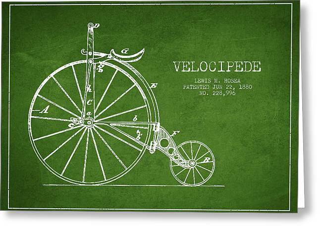 Vintage Bicycle Greeting Cards - Velocipede Patent Drawing from 1880 - Green Greeting Card by Aged Pixel