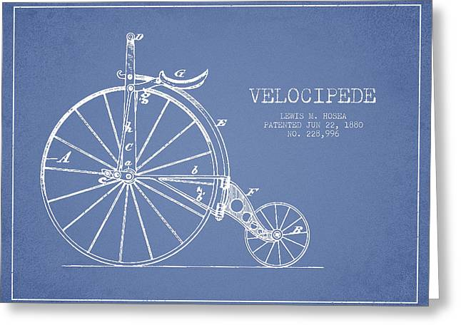 Vintage Bicycle Greeting Cards - Velocipede Patent Drawing from 1880 - Light Blue Greeting Card by Aged Pixel