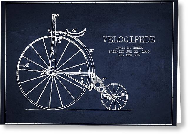 Pedal Greeting Cards - Velocipede Patent Drawing from 1880 - Navy Blue Greeting Card by Aged Pixel