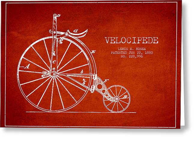 Vintage Bicycle Greeting Cards - Velocipede Patent Drawing from 1880 - Red Greeting Card by Aged Pixel