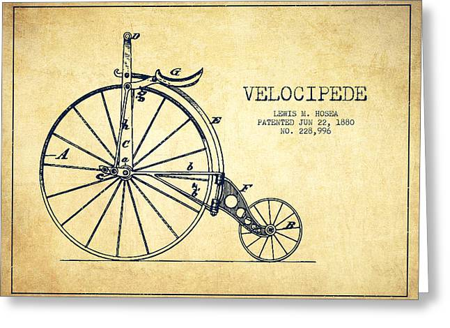 Vintage Bicycle Greeting Cards - Velocipede Patent Drawing from 1880 - Vintage Greeting Card by Aged Pixel