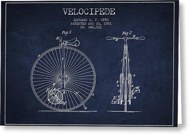 Vintage Bicycle Greeting Cards - Velocipede Patent Drawing from 1881 - Navy Blue Greeting Card by Aged Pixel