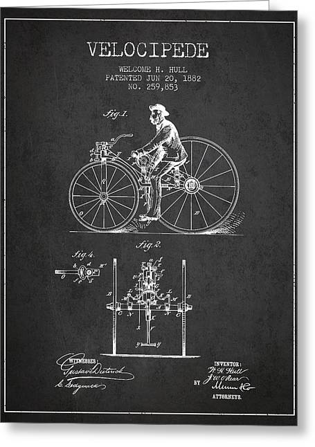Vintage Bicycle Greeting Cards - Velocipede Patent Drawing from 1882 - Dark Greeting Card by Aged Pixel