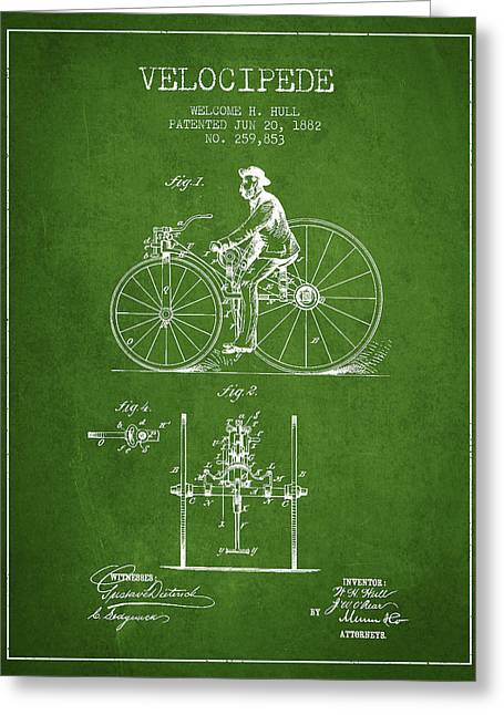 Vintage Bicycle Greeting Cards - Velocipede Patent Drawing from 1882 - Green Greeting Card by Aged Pixel
