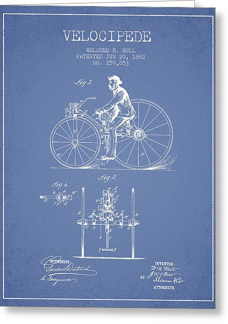 Vintage Bicycle Greeting Cards - Velocipede Patent Drawing from 1882 - Light Blue Greeting Card by Aged Pixel