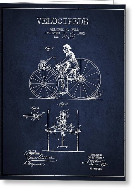 Vintage Bicycle Greeting Cards - Velocipede Patent Drawing from 1882 - Navy Blue Greeting Card by Aged Pixel