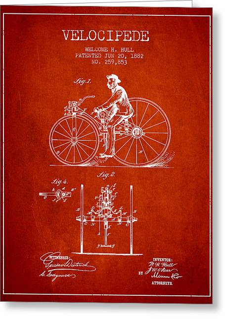 Vintage Bicycle Greeting Cards - Velocipede Patent Drawing from 1882 - Red Greeting Card by Aged Pixel