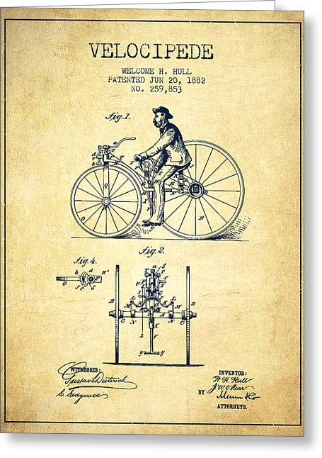 Velocipede Patent Drawing From 1882 - Vintage Greeting Card by Aged Pixel