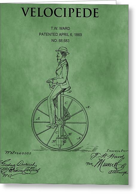 Cycle Mixed Media Greeting Cards - Velocipede Patent Green Greeting Card by Dan Sproul
