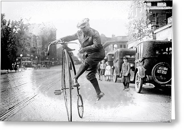 Vintage Bicycle Greeting Cards - Velocipede Wrangler 1920 Greeting Card by Daniel Hagerman