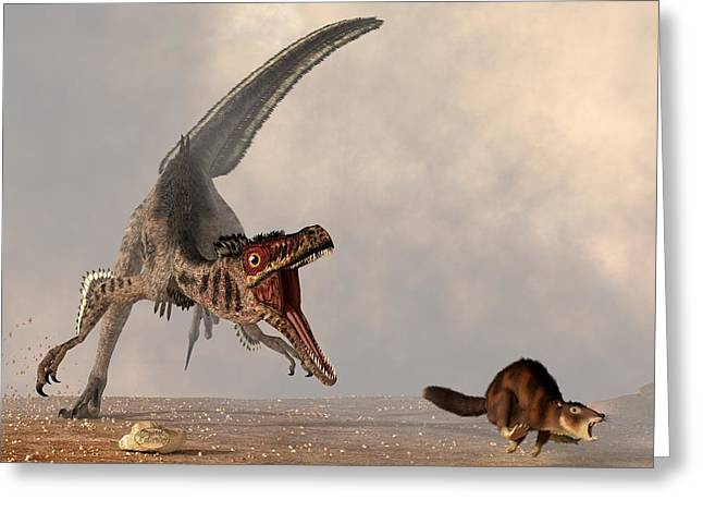 Triassic Greeting Cards - Velociraptor Chasing Small Mammal Greeting Card by Daniel Eskridge
