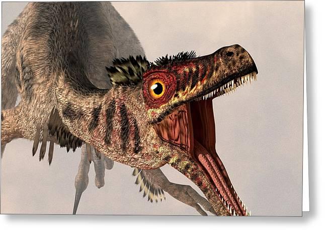 Velociraptor Greeting Cards - Velociraptor  Greeting Card by Daniel Eskridge