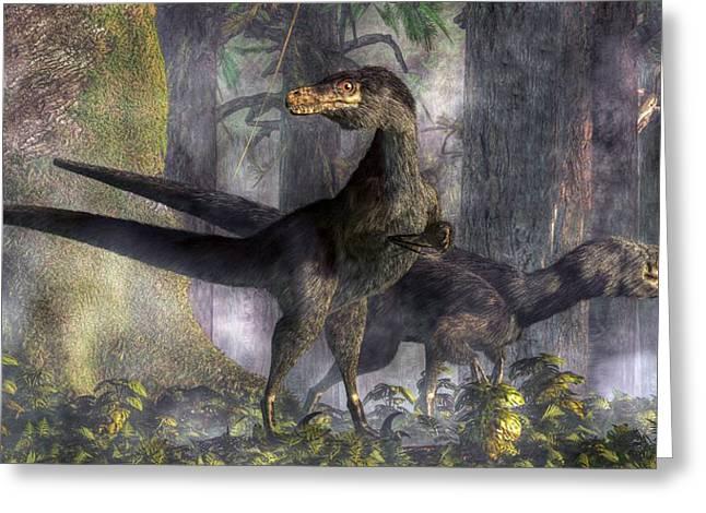 Velociraptor Greeting Cards - Velociraptors Hunting Greeting Card by Daniel Eskridge