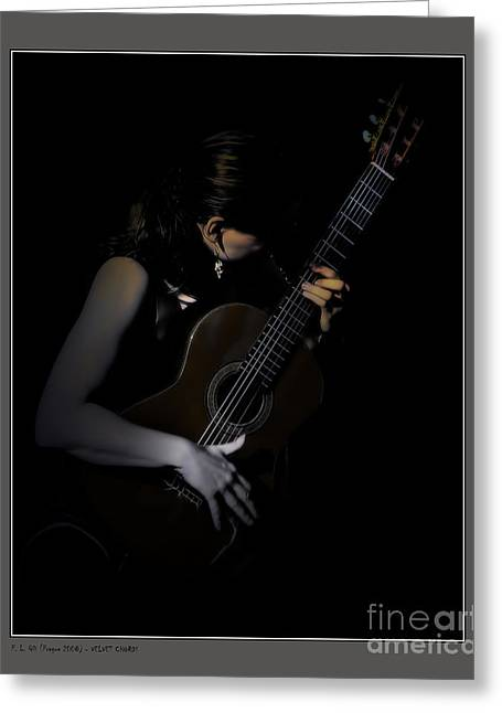 Player Greeting Cards - Velvet Chords Greeting Card by Pedro L Gili