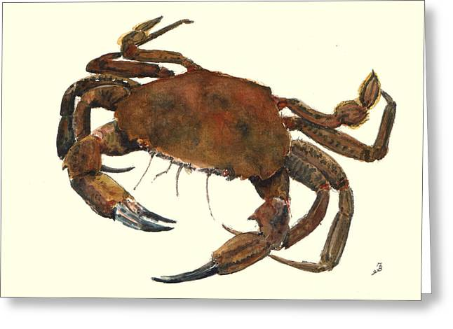 Velvet Greeting Cards - Velvet crab Greeting Card by Juan  Bosco