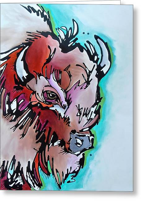 Buffalo Greeting Cards - Velvet Stud Greeting Card by Nicole Gaitan
