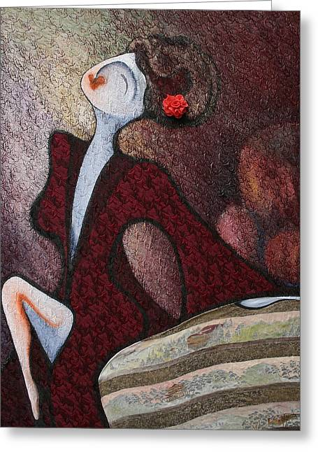 Female ist Mixed Media Greeting Cards - Velveteen Light Greeting Card by Claire Wentzel