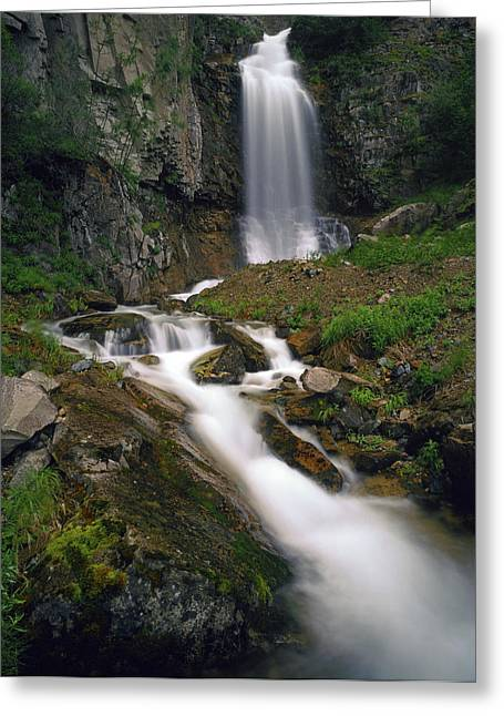 Beautiful Creek Greeting Cards - Velvety Flowing Waterfall Lake Clark Greeting Card by Vance Gese