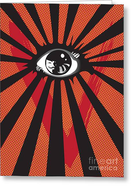 Eye Digital Art Greeting Cards - Vendetta2 eyeball Greeting Card by Sassan Filsoof