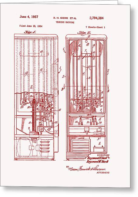 Art Product Drawings Greeting Cards - Vending Machine Patent 1957 Greeting Card by Mountain Dreams