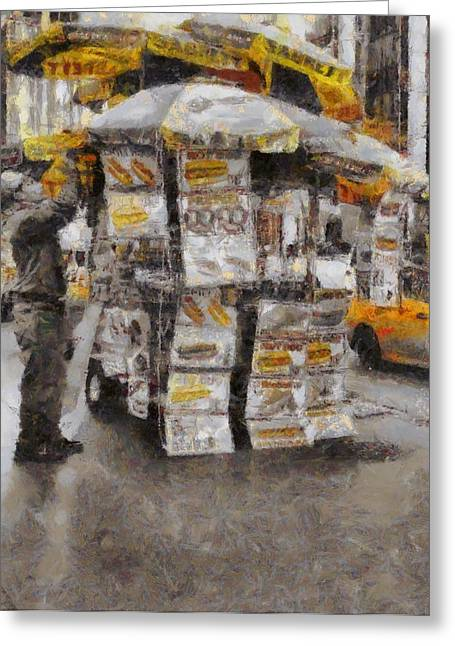 Hotdogs Greeting Cards - Vendor On The Street New York City Greeting Card by Dan Sproul