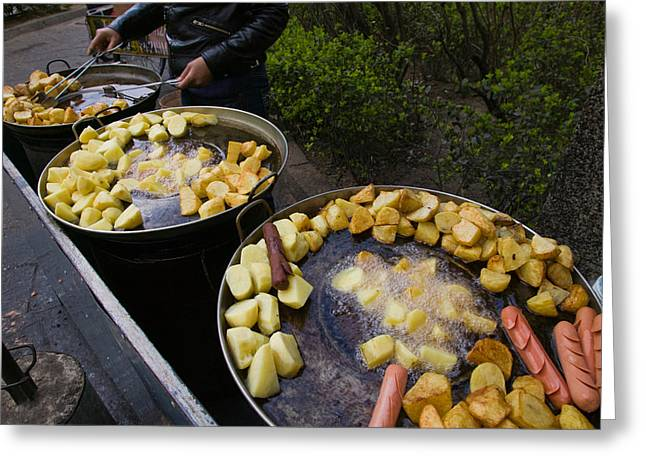 Fast Food Greeting Cards - Vendor Selling Deep Fried Potatoes Greeting Card by Panoramic Images