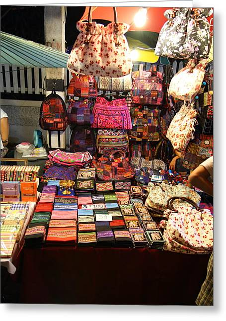 Market Greeting Cards - Vendors - Night Street Market - Chiang Mai Thailand - 011323 Greeting Card by DC Photographer