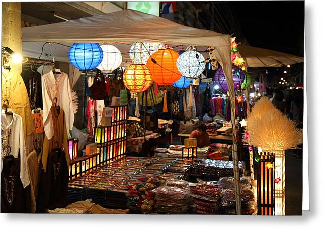 Chiang Greeting Cards - Vendors - Night Street Market - Chiang Mai Thailand - 011339 Greeting Card by DC Photographer