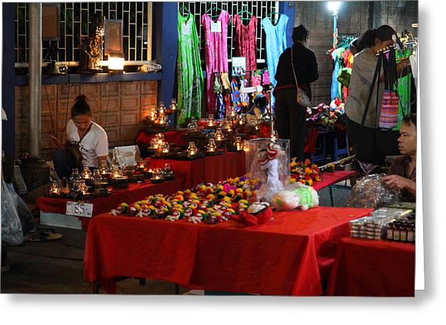 Merchants Greeting Cards - Vendors - Night Street Market - Chiang Mai Thailand - 011345 Greeting Card by DC Photographer