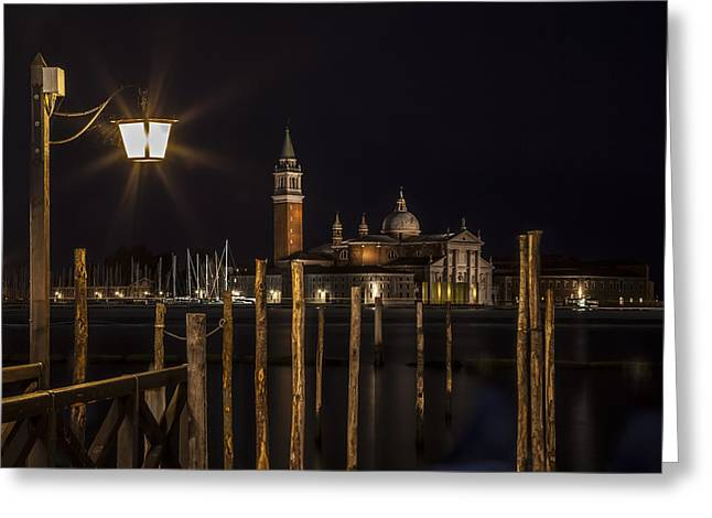 Night Lamp Greeting Cards - VENICE San Giorgio Maggiore at Night Greeting Card by Melanie Viola