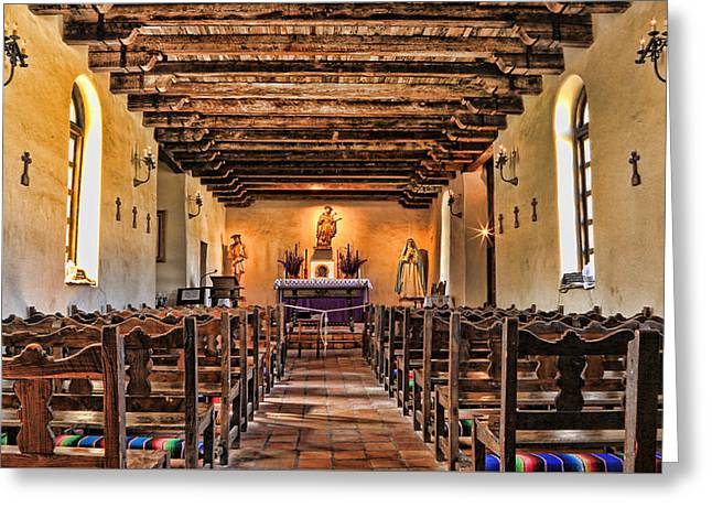 Wooden Sculpture Greeting Cards - Veneration - Mission Espada Greeting Card by Stephen Stookey